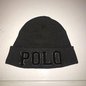 Polo Ralph Lauren Grey Spellout Mens Cuffed Beanie